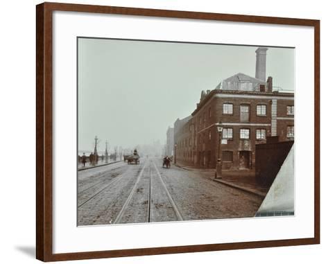 Tramlines on the Albert Embankment, Lambeth, London, 1909--Framed Art Print