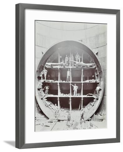 Men Standing in the Shield Used to Cut Rotherhithe Tunnel, Bermondsey, London, July 1907--Framed Art Print