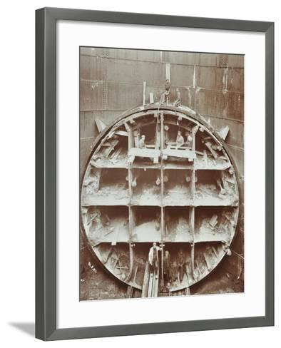 Men Standing in the Cutting Shield, Rotherhithe Tunnel, Stepney, London, August 1907--Framed Art Print