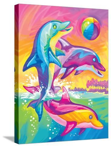Brushstoke Dolphins-Lisa Frank-Stretched Canvas Print