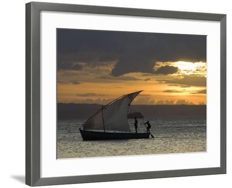 Fishing Boat at Dawn, Ramena Beach, Diego Suarez in North Madagascar-Inaki Relanzon-Framed Art Print
