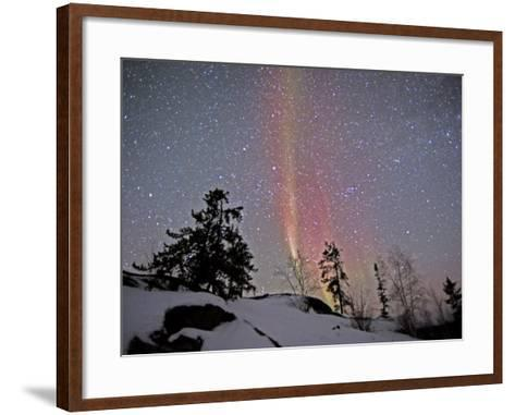 Northern Lights During Snow, Northwest Territories, March 2008, Canada-Eric Baccega-Framed Art Print