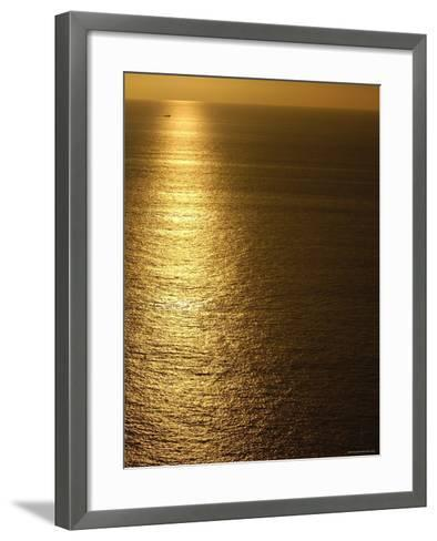 Fishing Boat in Distance on Sea at Sunset, Manabi Province, Ecuador-Pete Oxford-Framed Art Print