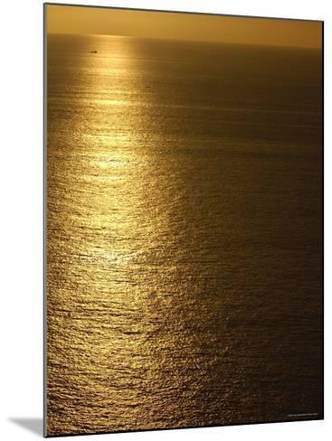 Fishing Boat in Distance on Sea at Sunset, Manabi Province, Ecuador-Pete Oxford-Mounted Photographic Print