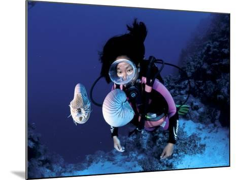 Diver with Pair of Pearly Nautilus, Great Barrier Reef, Queensland, Australia-Jurgen Freund-Mounted Photographic Print