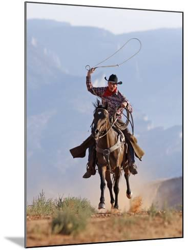 Cowboy Running with Rope Lassoo in Hand, Flitner Ranch, Shell, Wyoming, USA-Carol Walker-Mounted Photographic Print