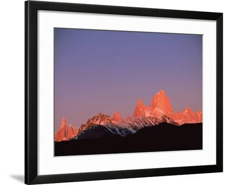 Fitzroy Massif Peak at Sunset, Andes, Patagonia, Argentina, South America-Pete Oxford-Framed Art Print