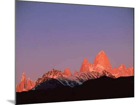 Fitzroy Massif Peak at Sunset, Andes, Patagonia, Argentina, South America-Pete Oxford-Mounted Photographic Print