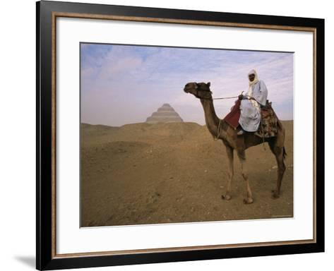 Bedouin Camel Rider in Front of Pyramid of Djoser, Egypt, North Africa-Staffan Widstrand-Framed Art Print