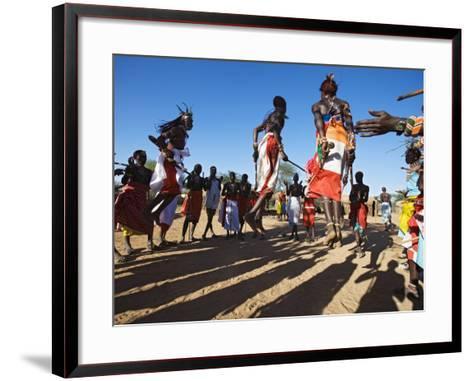 Samburu People Dancing, Laikipia, Kenya-Tony Heald-Framed Art Print