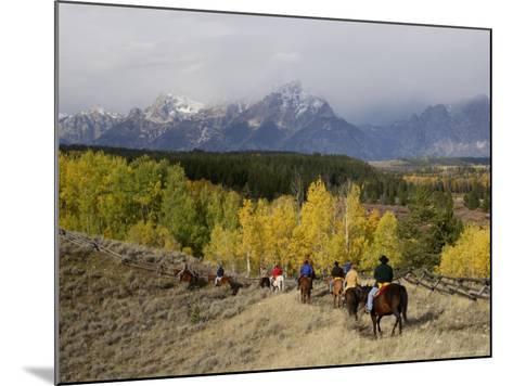 Tourists Enjoying Horseback Riding, Grand Teton National Park, Wyoming, USA-Rolf Nussbaumer-Mounted Photographic Print