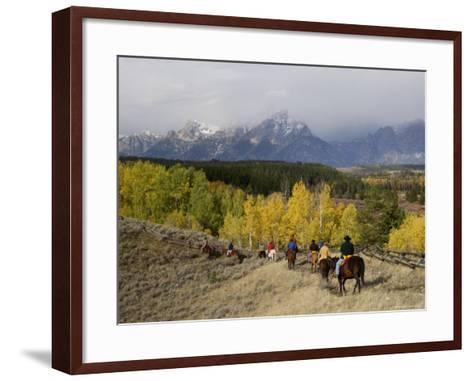 Tourists Enjoying Horseback Riding, Grand Teton National Park, Wyoming, USA-Rolf Nussbaumer-Framed Art Print
