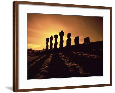 Easter Island Landscape with Giant Moai Stone Statues at Sunset, Oceania-George Chan-Framed Art Print