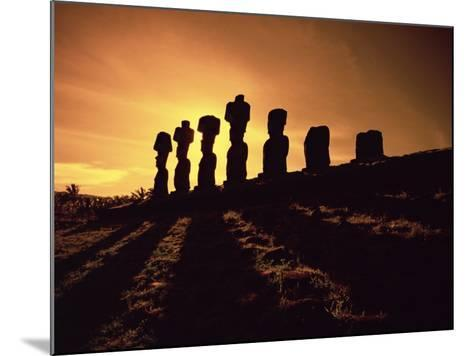 Easter Island Landscape with Giant Moai Stone Statues at Sunset, Oceania-George Chan-Mounted Photographic Print