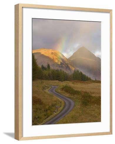 Mountain Road with Rainbow in Glen Etive, Argyll, Scotland, UK, October 2007-Niall Benvie-Framed Art Print