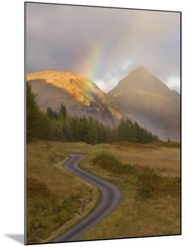Mountain Road with Rainbow in Glen Etive, Argyll, Scotland, UK, October 2007-Niall Benvie-Mounted Photographic Print