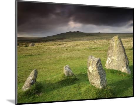Merrivale Stone Row, Stormy Evening, Dartmoor Np, Devon, Uk. September 2008-Ross Hoddinott-Mounted Photographic Print