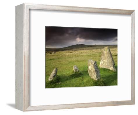 Merrivale Stone Row, Stormy Evening, Dartmoor Np, Devon, Uk. September 2008-Ross Hoddinott-Framed Art Print