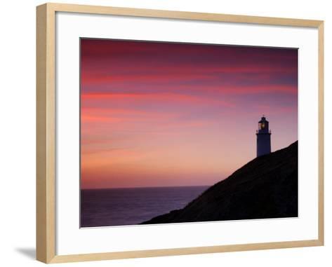 Trevose Lighthouse at Sunset, Near Padstow, Cornwall, Uk. July 2008-Ross Hoddinott-Framed Art Print