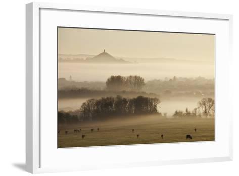 View Towards Glastonbury Tor from Walton Hill at Dawn, Somerset Levels, Somerset, England, UK-Guy Edwardes-Framed Art Print