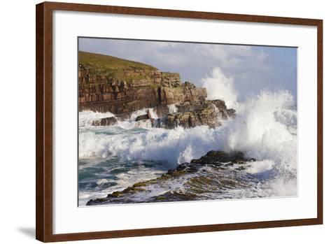 Waves Crashing over Rocks, Coastline Near Point of Stoer, Assynt, Sutherland, Nw Scotland, UK-Mark Hamblin-Framed Art Print