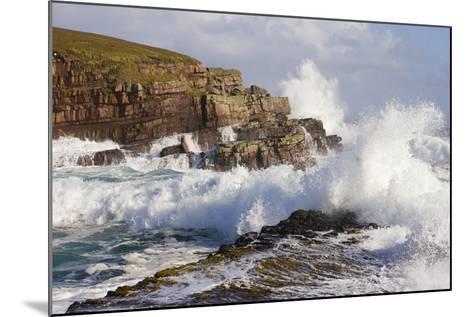 Waves Crashing over Rocks, Coastline Near Point of Stoer, Assynt, Sutherland, Nw Scotland, UK-Mark Hamblin-Mounted Photographic Print