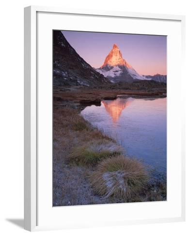 Matterhorn (4,478M) at Sunrise with Reflection in Riffel Lake, Wallis, Switzerland, September 2008-Popp-Hackner-Framed Art Print