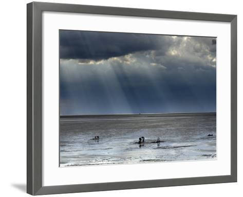 The Wash, Norfolk, Beach Landscape with Storm Clouds and Bait Diggers, UK-Gary Smith-Framed Art Print