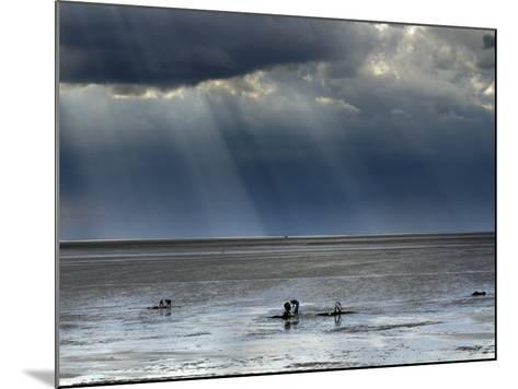 The Wash, Norfolk, Beach Landscape with Storm Clouds and Bait Diggers, UK-Gary Smith-Mounted Photographic Print