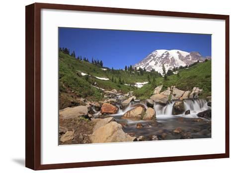 Mount Rainier and Mountain Stream, Washington State, USA-Mark Taylor-Framed Art Print