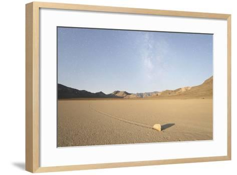 Sliding Stone of Racetrack Playa, Taken at Night by Moonlight, with Milky Way, Death Valley, USA-Mark Taylor-Framed Art Print