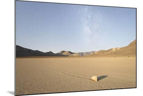Sliding Stone of Racetrack Playa, Taken at Night by Moonlight, with Milky Way, Death Valley, USA-Mark Taylor-Mounted Photographic Print