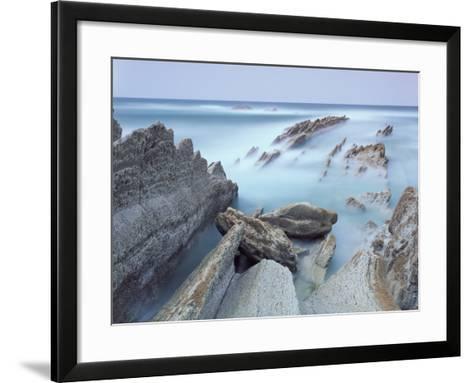 Rock Formations on Atxabiribil Beach, Basque Country, Bay of Biscay, Spain, October 2008-Popp-Hackner-Framed Art Print