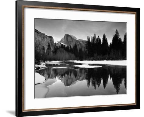 Half Dome Above River and Winter Snow, Yosemite National Park, California, USA-David Welling-Framed Art Print