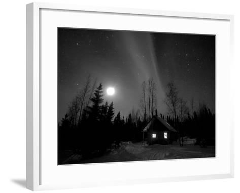 Cabin under Northern Lights and Full Moon, Northwest Territories, Canada March 2007-Eric Baccega-Framed Art Print