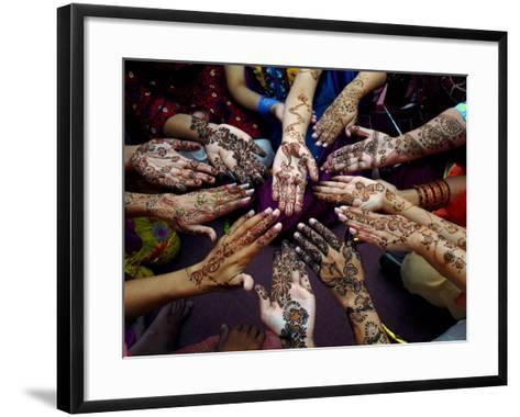 Pakistani Girls Show Their Hands Painted with Henna Ahead of the Muslim Festival of Eid-Al-Fitr-Khalid Tanveer-Framed Art Print