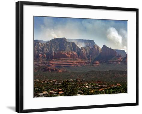 Sedona, Ariz. is Backdropped by the Brins Fire Buring Atop the Red Rocks--Framed Art Print