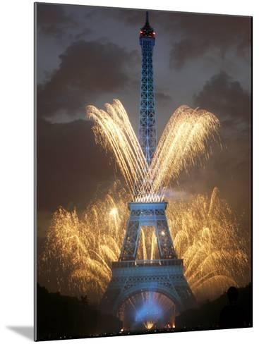 Fireworks Illuminate the Eiffel Tower--Mounted Photographic Print