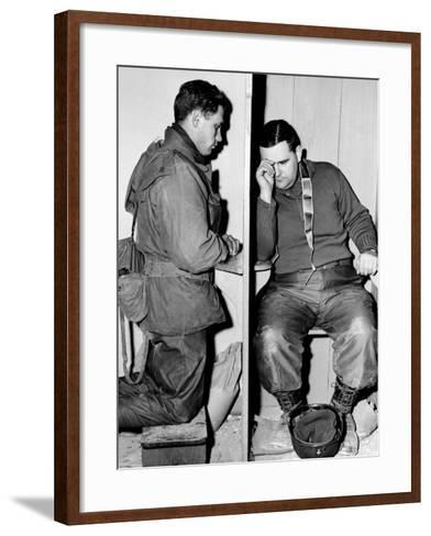 A Catholic Chaplain Hears the Confession of a Young Private after Services--Framed Art Print