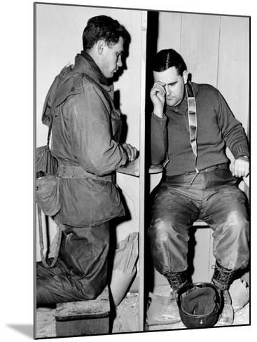 A Catholic Chaplain Hears the Confession of a Young Private after Services--Mounted Photographic Print