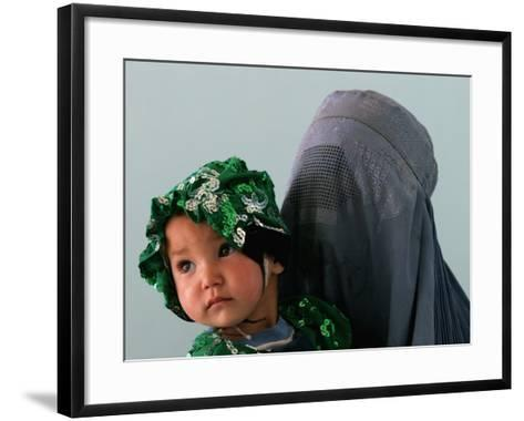 An Afghan Mother Waits with Her Daughter Before Attending Medical Care--Framed Art Print