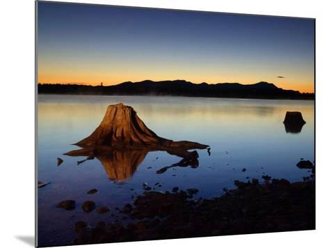 The First Light of Dawn Silhouettes the Katahdin Range East of Chesuncook Lake--Mounted Photographic Print