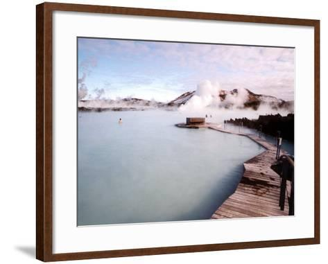 People Swim in the Blue Lagoon Spa in Grindavik, Iceland--Framed Art Print