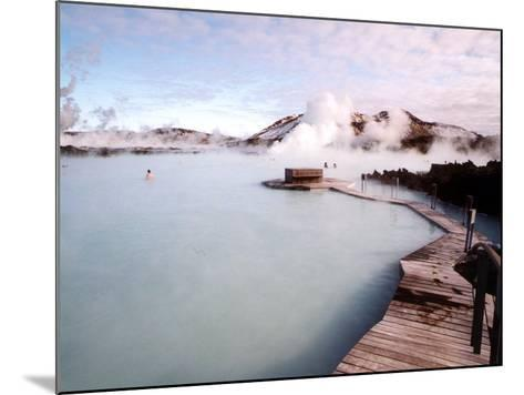 People Swim in the Blue Lagoon Spa in Grindavik, Iceland--Mounted Photographic Print