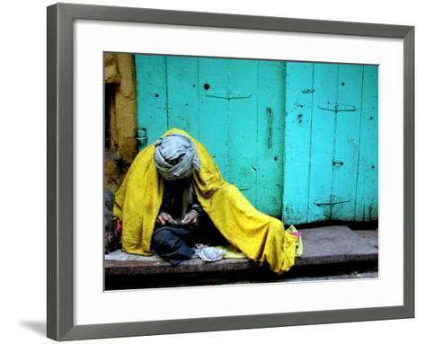 A Muslim Man Warms Himself--Framed Art Print