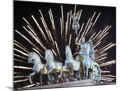 New Year's Fireworks above the Quadriga at the Brandenburg Gate in Berlin, Germany, c.2007-Michael Sohn-Mounted Photographic Print