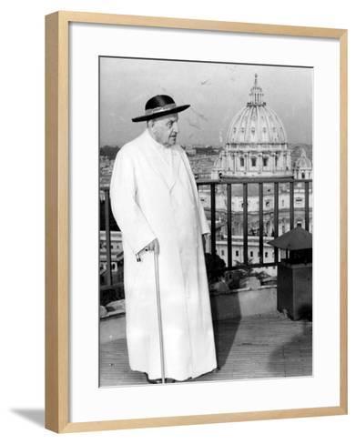 Pope John XXIII on the Terrace of a IX-Century Tower in the Vatican Gardens April 15, 1963--Framed Art Print