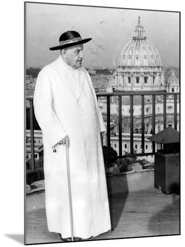 Pope John XXIII on the Terrace of a IX-Century Tower in the Vatican Gardens April 15, 1963--Mounted Photographic Print