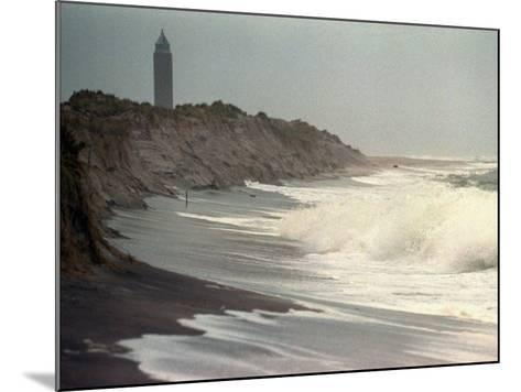 Waves from the Atlantic Ocean Crash against the Shore at Robert Moses State Park--Mounted Photographic Print