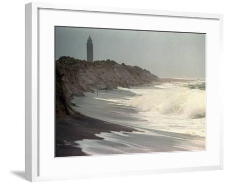 Waves from the Atlantic Ocean Crash against the Shore at Robert Moses State Park--Framed Art Print